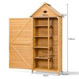 COSTWAY-Wooden-Garden-Shed-with-Slope-Roof-and-Lockable-Door-5-Shelves-Outdoor-Tool-Storage-Cabinet-in-Nature-70cm-X-355cm-X-176cm-0-3