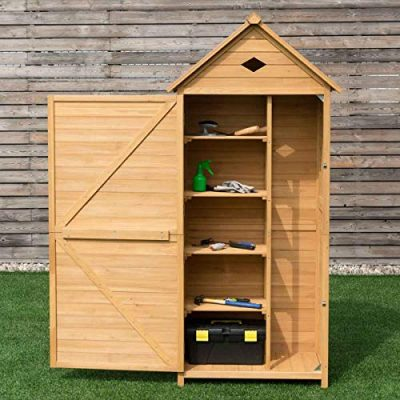 COSTWAY-Wooden-Garden-Shed-with-Slope-Roof-and-Lockable-Door-5-Shelves-Outdoor-Tool-Storage-Cabinet-in-Nature-70cm-X-355cm-X-176cm-0