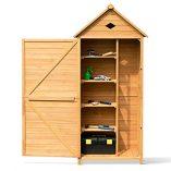 COSTWAY-Wooden-Garden-Shed-with-Slope-Roof-and-Lockable-Door-5-Shelves-Outdoor-Tool-Storage-Cabinet-in-Nature-70cm-X-355cm-X-176cm-0-5