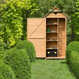 COSTWAY-Wooden-Garden-Shed-with-Slope-Roof-and-Lockable-Door-5-Shelves-Outdoor-Tool-Storage-Cabinet-in-Nature-70cm-X-355cm-X-176cm-0-6