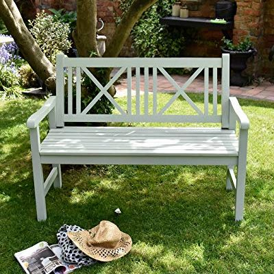 Wooden-Garden-Bench-2-Seater-Solid-Wood-Sage-Green-Outdoor-Seat-Traditional-Furniture-0